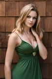 Green dress. Pretty young brunette in a green dress Royalty Free Stock Photos