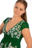 Green dress. Portrait of young beautiful woman in green dress Stock Image