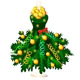 Green dress in style of Christmas and New year decorated with fir tree branches with ornaments and baubles, hanging on a. Hanger, isolated on white background vector illustration