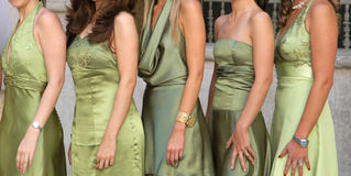 Green dresses - Mexico. Five women dressed in different luxury dresses Stock Photography