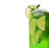 Green drink with lime and mint Royalty Free Stock Photos