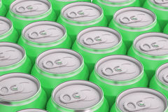 Green drink metallic cans, top view Royalty Free Stock Photos