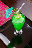 Green Drink with umbrella Stock Photos