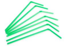 Green drinking straws stock images