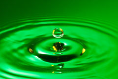 Green droplet splash in a water Royalty Free Stock Photo