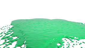 Green drops falling on white surface slow motion. Colored paint. Close-up view of green drops falling on white surface and liquid rolls off of a white in slow royalty free illustration