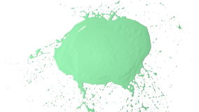 Green drops falls and splatters in slow motion. Paint. Close-up view of big green drops falls and splatters in slow motion on white background. It is Isolated on vector illustration