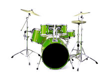 Green Drums. Green drum kit isolated over a white background Royalty Free Stock Photo
