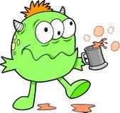 Green Drunk Monster. Vector Illustration Stock Photography