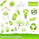 Green dry cleaning set Royalty Free Stock Images