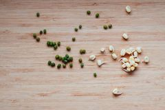Mung beans and their sprouts on a table, top view royalty free stock photography