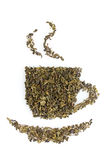 Green dry tea cup royalty free stock photo
