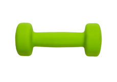 Green dumbbell. For fitness, isolated on white background Royalty Free Stock Images