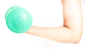 Green dumbbell in hand Stock Photos