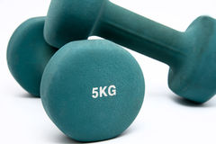 Green dumbbells Stock Image