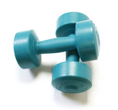 The green dumbells. Isolated on white background Royalty Free Stock Photos
