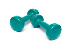 Green Dumbells. Free Weights green Dumbells isolated on a white background Stock Photography