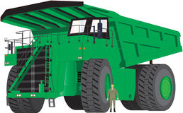 Green Dumper Truck. A Giant Green Dumper Truck with man as scale Royalty Free Stock Photos