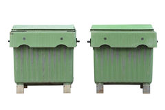 Green dumpsters isolated on white background Stock Photography