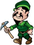 Green Dwarf - Elf Miner Stock Photo