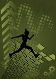 Green dynamic abstract background. With silhouette of jumping woman Royalty Free Stock Photo