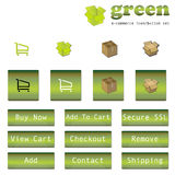 Green E-Commerce Button/Icon Set. Enhance your websites greenness with this complete set of three dimensional icons and buttons with graphics and text Stock Images