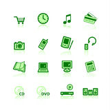 Green e-commerce icons. On the white background Stock Image