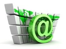 Green e-mail at symbol and globe world map wall Royalty Free Stock Photo