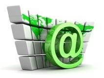 Green e-mail at symbol and globe world map wall Royalty Free Stock Photo