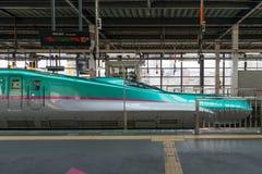 The green E5 Series bullet (High-speed,Shinkansen) train. Stock Photography