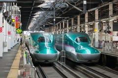 The green E5 Series bullet (High-speed,Shinkansen) trains. Royalty Free Stock Image