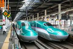 The green E5 Series bullet (High-speed) trains. Stock Image
