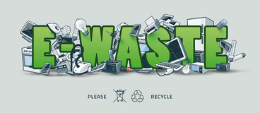 Green E-waste Sign with Electronic Devices. The waste electrical and electronic equipment creating pile around the E-Waste sign. Computer and other obsolete used stock illustration