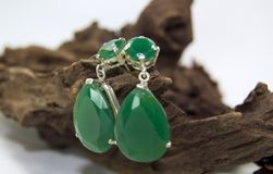 Green earrings Royalty Free Stock Photography