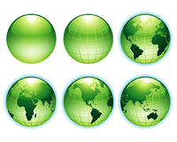 Green Earth. Vector: green earth of different side Stock Images