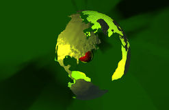 Green Earth. Red core of molten lava and a green earth surface in 3D Stock Image