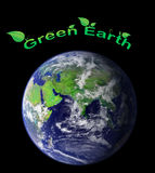 Green earth. Earth covered with green grass and tree with text illustration Stock Photography
