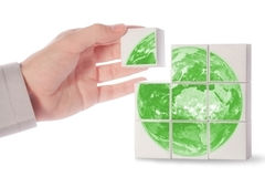 Green earth. Maded from cubes Royalty Free Stock Image