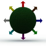 Green earth. Colorful arrows going out of a green planet Stock Photography