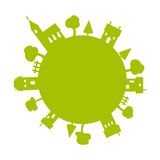 Green earth. Isolated  illustration Royalty Free Stock Photos