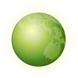 Green Earth 2. Green earth with sun rays Royalty Free Stock Image