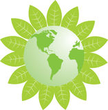 Green Earth. A green earth surrounding by green leaf, can use as a icon Royalty Free Stock Images