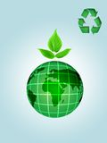 Green earth. Green globe with flower and recycle logo Stock Photos