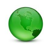 Green Earth. Shiny blue globe created in Photoshop Stock Photography