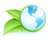 Green earth. With two leaves royalty free illustration
