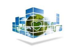 Green earth on abstract screen Stock Images