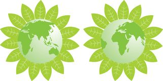 Green Earth_Asia & Africa. A green earth surrounding by green leaf with Asia and Africa Map, can use as a icon Stock Photography