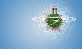 Green Earth with buildings, construction site and Royalty Free Stock Photos