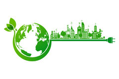 Green earth and city eco concept Royalty Free Stock Image