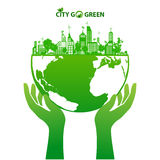 Green earth and city eco concept. Green earth eco and city energy save concept Royalty Free Stock Photos